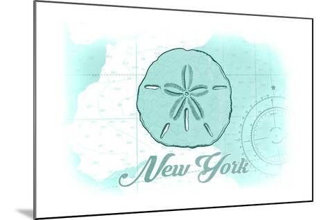 New York - Sand Dollar - Teal - Coastal Icon-Lantern Press-Mounted Art Print