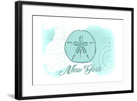 New York - Sand Dollar - Teal - Coastal Icon-Lantern Press-Framed Art Print