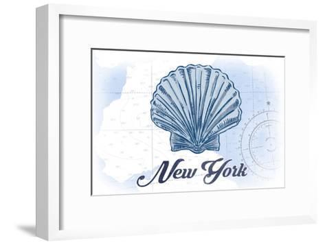 New York - Scallop Shell - Blue - Coastal Icon-Lantern Press-Framed Art Print