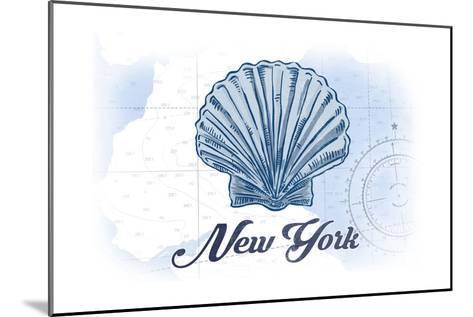 New York - Scallop Shell - Blue - Coastal Icon-Lantern Press-Mounted Art Print