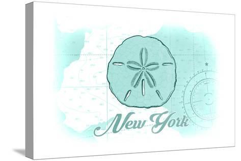 New York - Sand Dollar - Teal - Coastal Icon-Lantern Press-Stretched Canvas Print