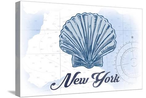 New York - Scallop Shell - Blue - Coastal Icon-Lantern Press-Stretched Canvas Print