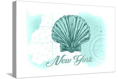 New York - Scallop Shell - Teal - Coastal Icon-Lantern Press-Stretched Canvas Print