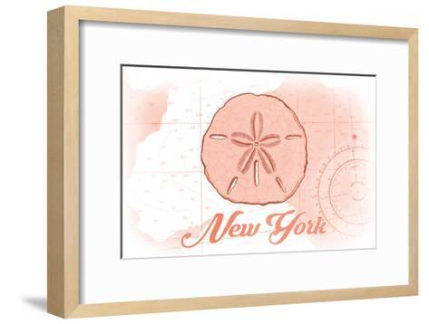 New York - Sand Dollar - Coral - Coastal Icon-Lantern Press-Framed Art Print