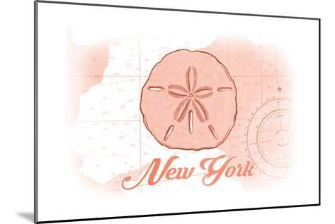 New York - Sand Dollar - Coral - Coastal Icon-Lantern Press-Mounted Art Print