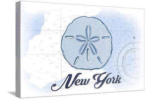 New York - Sand Dollar - Blue - Coastal Icon-Lantern Press-Stretched Canvas Print
