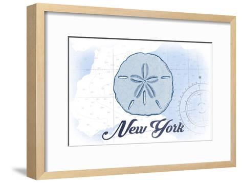 New York - Sand Dollar - Blue - Coastal Icon-Lantern Press-Framed Art Print