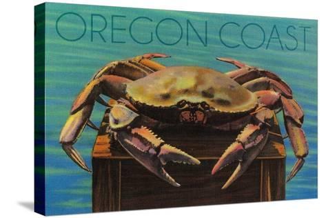 Oregon Coast - Dungeness Crab Vintage Postcard-Lantern Press-Stretched Canvas Print