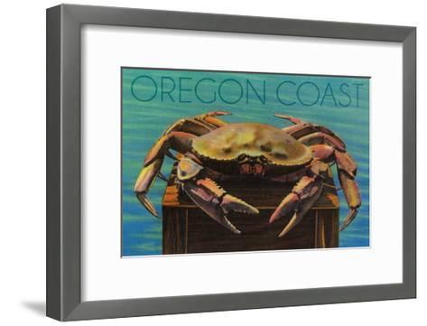 Oregon Coast - Dungeness Crab Vintage Postcard-Lantern Press-Framed Art Print