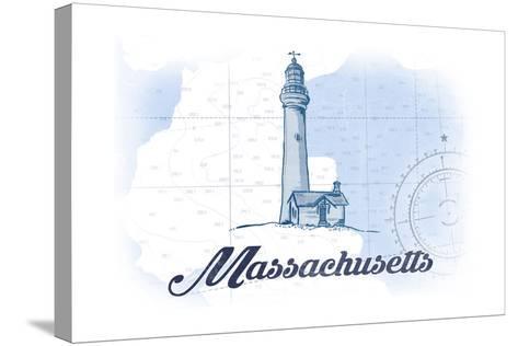 Massachusetts - Lighthouse - Blue - Coastal Icon-Lantern Press-Stretched Canvas Print