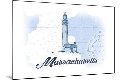 Massachusetts - Lighthouse - Blue - Coastal Icon-Lantern Press-Mounted Art Print