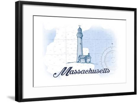 Massachusetts - Lighthouse - Blue - Coastal Icon-Lantern Press-Framed Art Print