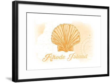 Rhode Island - Scallop Shell - Yellow - Coastal Icon-Lantern Press-Framed Art Print