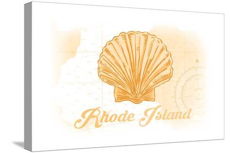 Rhode Island - Scallop Shell - Yellow - Coastal Icon-Lantern Press-Stretched Canvas Print