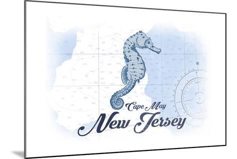 Cape May, New Jersey - Seahorse - Blue - Coastal Icon-Lantern Press-Mounted Art Print