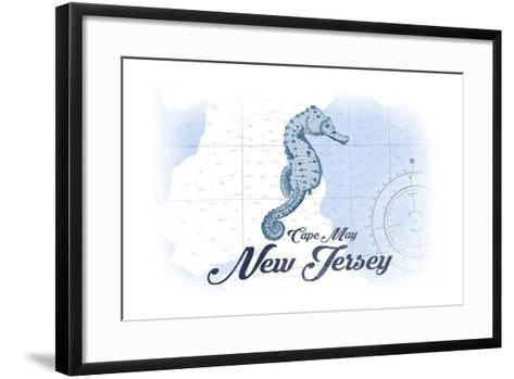 Cape May, New Jersey - Seahorse - Blue - Coastal Icon-Lantern Press-Framed Art Print