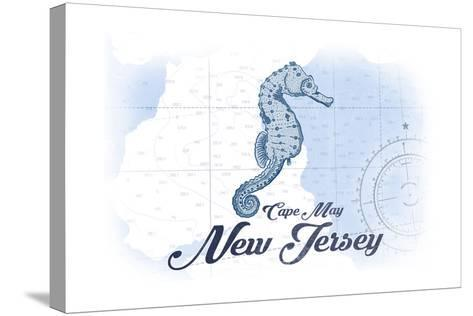 Cape May, New Jersey - Seahorse - Blue - Coastal Icon-Lantern Press-Stretched Canvas Print