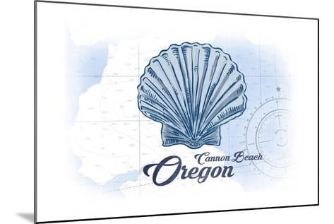 Cannon Beach, Oregon - Scallop Shell - Blue - Coastal Icon-Lantern Press-Mounted Art Print