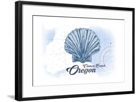 Cannon Beach, Oregon - Scallop Shell - Blue - Coastal Icon-Lantern Press-Framed Art Print