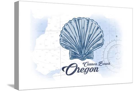 Cannon Beach, Oregon - Scallop Shell - Blue - Coastal Icon-Lantern Press-Stretched Canvas Print