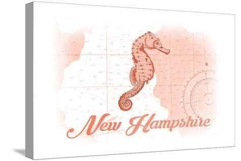 New Hampshire - Seahorse - Coral - Coastal Icon-Lantern Press-Stretched Canvas Print