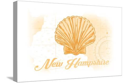 New Hampshire - Scallop Shell - Yellow - Coastal Icon-Lantern Press-Stretched Canvas Print