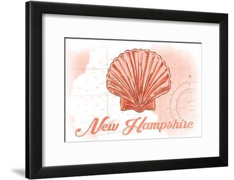 New Hampshire - Scallop Shell - Coral - Coastal Icon-Lantern Press-Framed Art Print