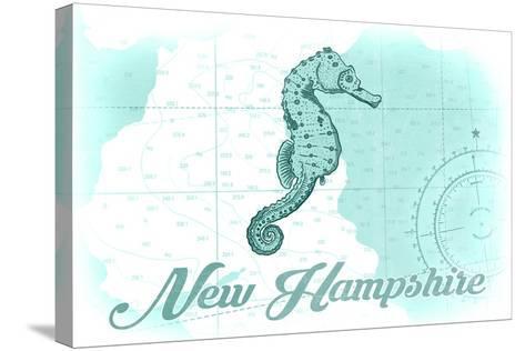 New Hampshire - Seahorse - Teal - Coastal Icon-Lantern Press-Stretched Canvas Print