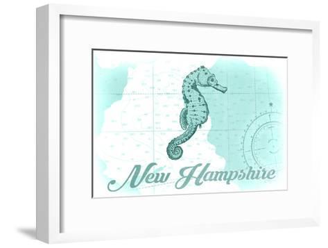 New Hampshire - Seahorse - Teal - Coastal Icon-Lantern Press-Framed Art Print