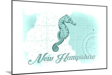 New Hampshire - Seahorse - Teal - Coastal Icon-Lantern Press-Mounted Art Print
