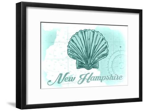 New Hampshire - Scallop Shell - Teal - Coastal Icon-Lantern Press-Framed Art Print