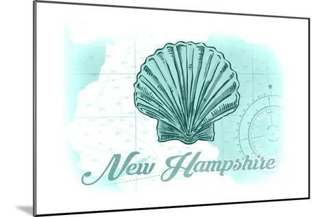 New Hampshire - Scallop Shell - Teal - Coastal Icon-Lantern Press-Mounted Art Print
