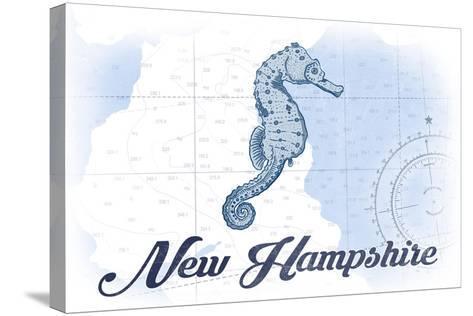 New Hampshire - Seahorse - Blue - Coastal Icon-Lantern Press-Stretched Canvas Print