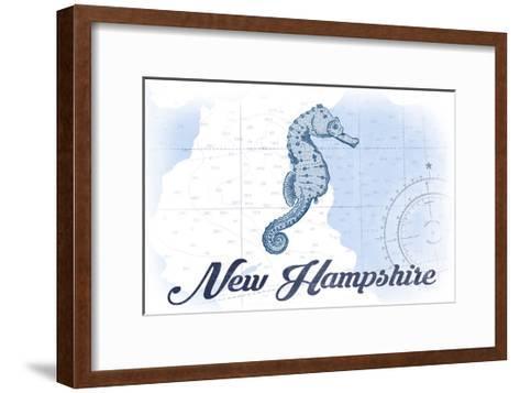 New Hampshire - Seahorse - Blue - Coastal Icon-Lantern Press-Framed Art Print