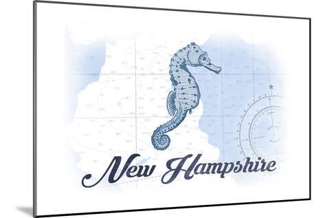 New Hampshire - Seahorse - Blue - Coastal Icon-Lantern Press-Mounted Art Print