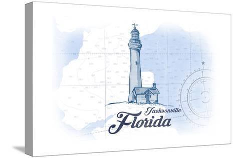 Jacksonville, Florida - Lighthouse - Blue - Coastal Icon-Lantern Press-Stretched Canvas Print