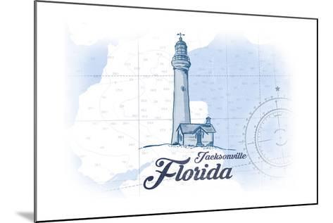 Jacksonville, Florida - Lighthouse - Blue - Coastal Icon-Lantern Press-Mounted Art Print