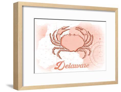 Delaware - Crab - Coral - Coastal Icon-Lantern Press-Framed Art Print