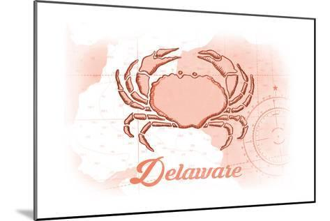 Delaware - Crab - Coral - Coastal Icon-Lantern Press-Mounted Art Print