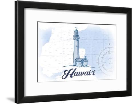 Hawaii - Lighthouse - Blue - Coastal Icon-Lantern Press-Framed Art Print