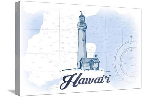 Hawaii - Lighthouse - Blue - Coastal Icon-Lantern Press-Stretched Canvas Print