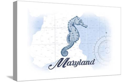 Maryland - Seahorse - Blue - Coastal Icon-Lantern Press-Stretched Canvas Print