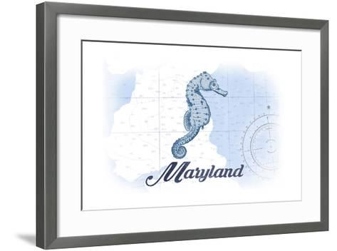Maryland - Seahorse - Blue - Coastal Icon-Lantern Press-Framed Art Print