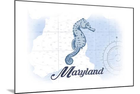Maryland - Seahorse - Blue - Coastal Icon-Lantern Press-Mounted Art Print