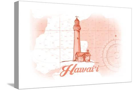 Hawaii - Lighthouse - Coral - Coastal Icon-Lantern Press-Stretched Canvas Print