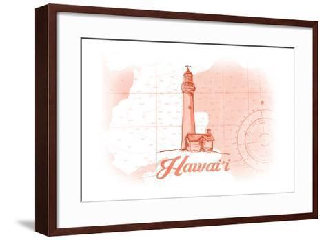 Hawaii - Lighthouse - Coral - Coastal Icon-Lantern Press-Framed Art Print