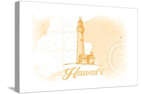 Hawaii - Lighthouse - Yellow - Coastal Icon-Lantern Press-Stretched Canvas Print