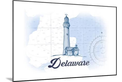 Delaware - Lighthouse - Blue - Coastal Icon-Lantern Press-Mounted Art Print