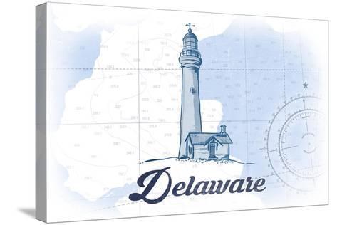 Delaware - Lighthouse - Blue - Coastal Icon-Lantern Press-Stretched Canvas Print