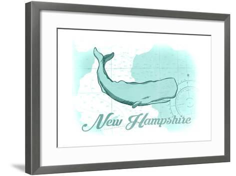 New Hampshire - Whale - Teal - Coastal Icon-Lantern Press-Framed Art Print